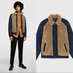 Zara Sz Sm Denim Jean Jacket Shearling Coat